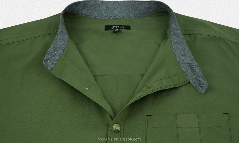 Shirt design of 2014 - 2014 Latest Design Regular Fit Olive Casual Solid Shirt With Mandarin Collar Causal Short Sleeve Shirt