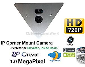H.264 1280x720P 1.0MP IP Network NightVision Corner Mountable Camera 12VDC Support Audio P2P Onvif, Mobile Phone View. Prefect for Elevator, Inside Room
