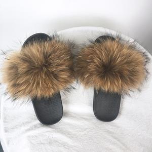 2ec6acd7d0e Fashion Girls Beach Slipper Real Fur Slippers for SALE  Women Raccoon Fur  Slides