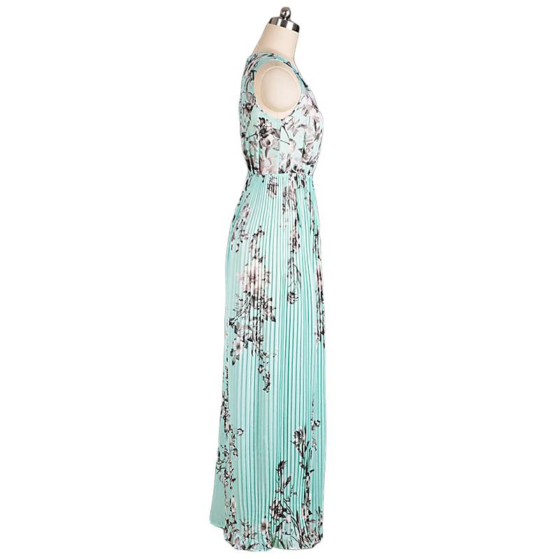 Платье шифон пляж без рукавов лето, цветочный макси принт плиссировка вечернее женщины с круглым вырезом минимальный уровень vestidos longos