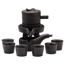 Chinese Keramische Gongfu Thee Set Service Automatische Handgemaakte Stenen-Molen Ontwerp Porselein Thee <span class=keywords><strong>Pot</strong></span> W/6 Cups Japanse kung Fu Thee Gift