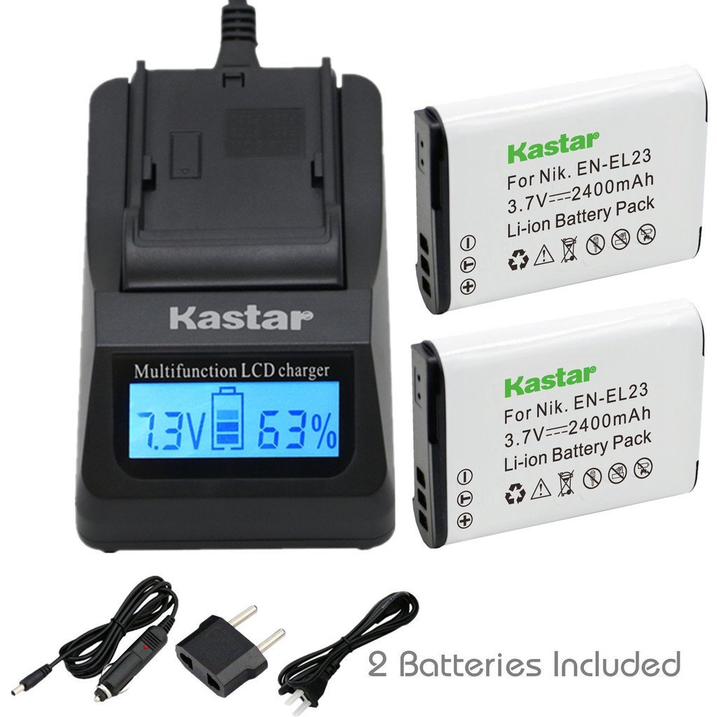 Kastar Ultra Fast Charger(3X faster) Kit and Battery (2-Pack) for Nikon EN-EL23, MH-67 work with Nikon Coolpix P600, S810c Digital Cameras [Over 3x faster than a normal charger with portable USB charge function]