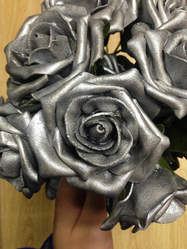 Artificial Metallic Silver Foam Rose Flower