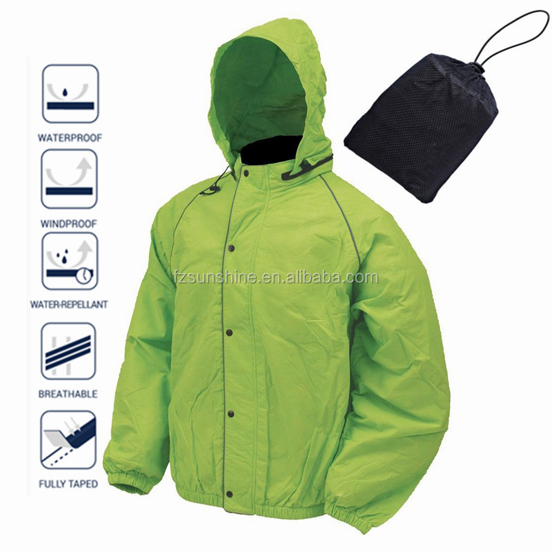 Reflective Waterproof Foldable Rain Jacket With Hood And Bag - Buy ...