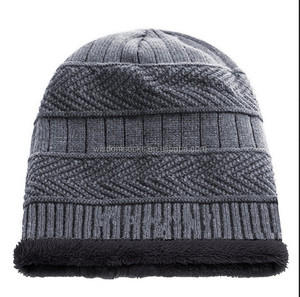 58f7d78cc70 wholesale Lined Thick Knit fleece Winter Slouchy grey men Beanies Hats