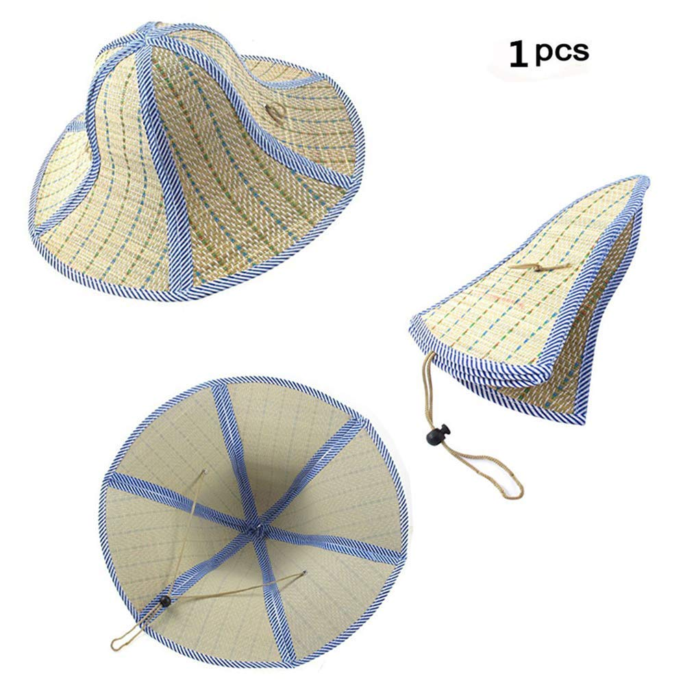 47bc3f61837a7 Feisuo 1 Pcs Summer Beach Boater Straw Hat,Chinese Style Foldable Straw Sun  Cap Visor