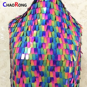 CRF0655 Colorful Rectangle Design Sequin Fabric New Lace Fabric 2018 Sequins Beading Fabric