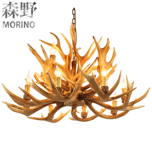 American rustic style antique Resin antler lamp chain chandelier for large hotel chandelier