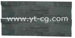 Factory price 6 stripes Stacked Black Slate 15x60 wall facing stone
