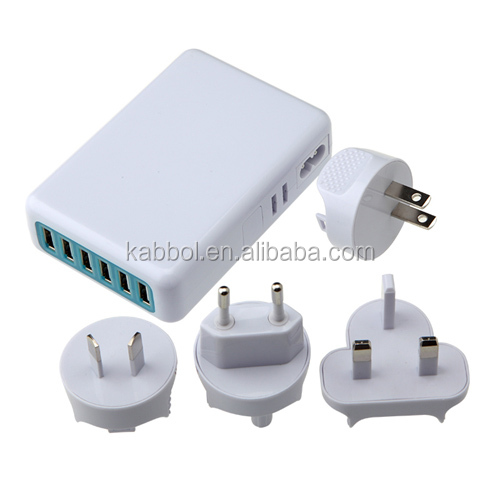 SAA Certificate 6 Port 10A Universal USB Travel Wall Charger Adaptor with EU US AU UK Power Cord for iPhone 6S 6S Plus 5S