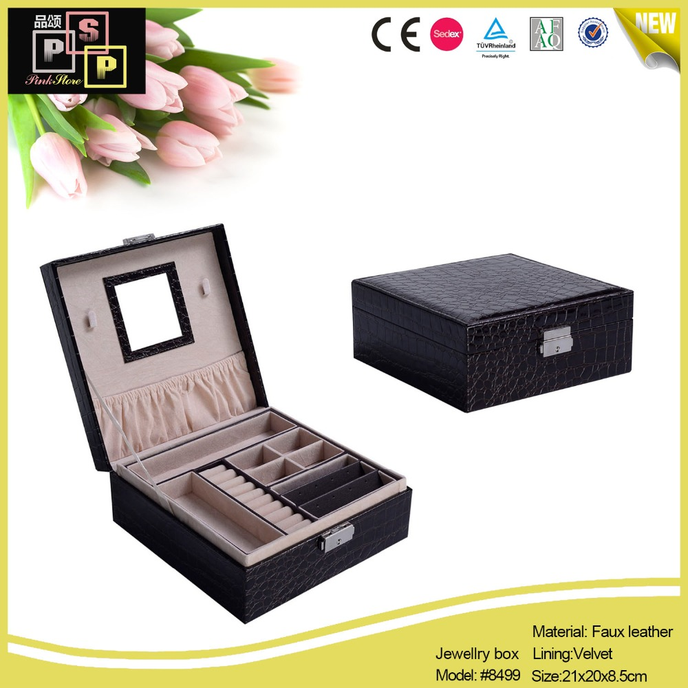 handmade black crocodile texture leather vintage style looking jewelry box with mirror