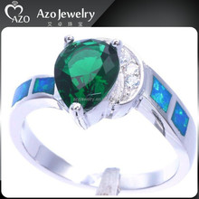 Fashion 925 Sterling Silver Blue Fire Opal Emerald Ring