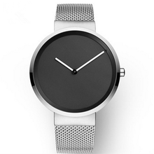 Custom simple dial quartz stainless steel watch black