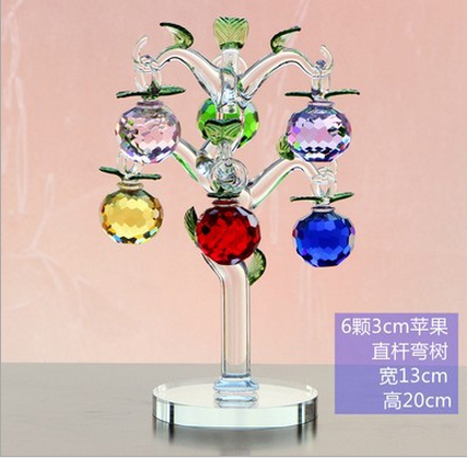 china new design Decorative Crystal Glass Apple Tree For Christmas decoration