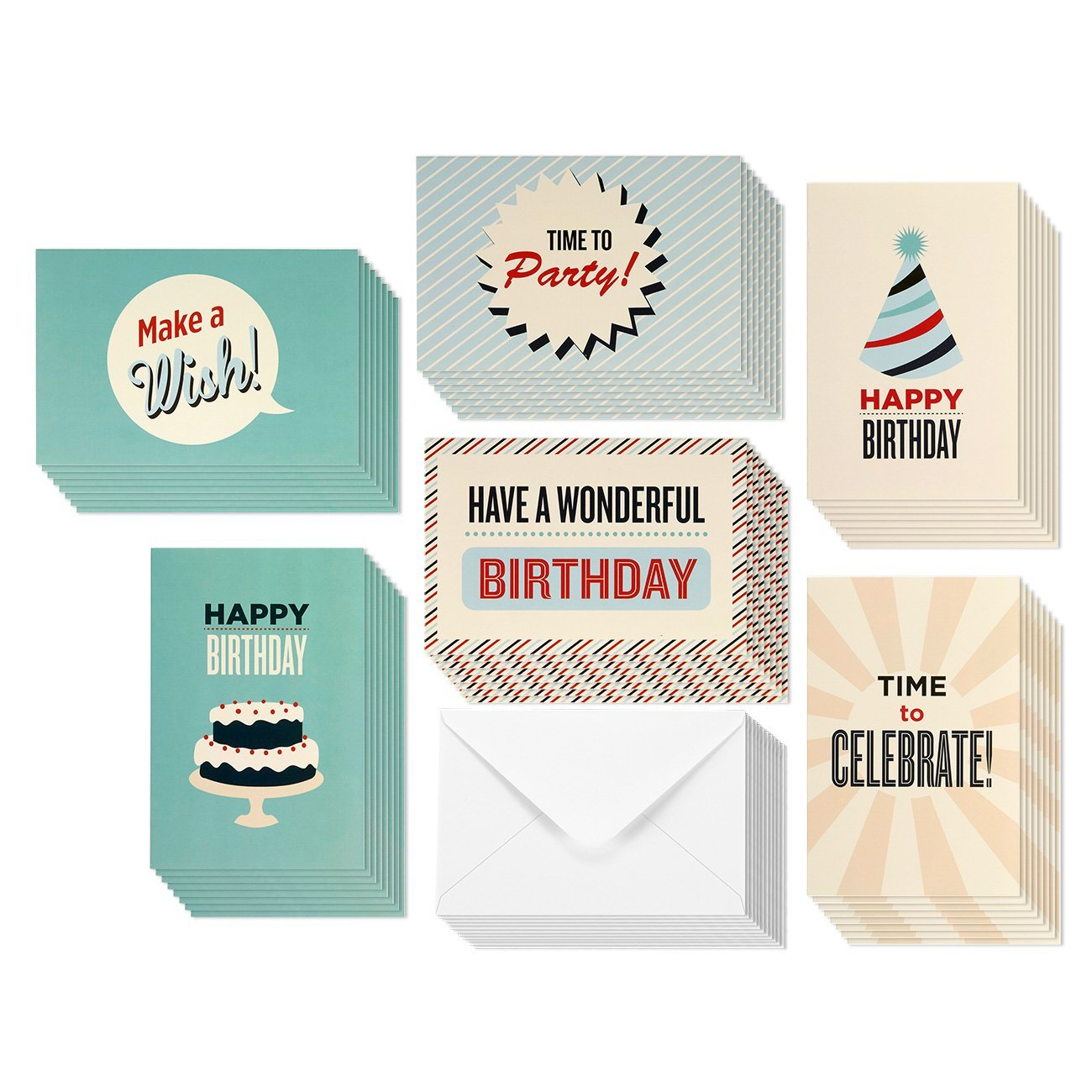 48 Pack Happy Birthday Greeting Cards 6 Vintage Retro Cake Party Hat Designs Bulk Box Set Variety Assortment Envelopes Included 4 X Inches