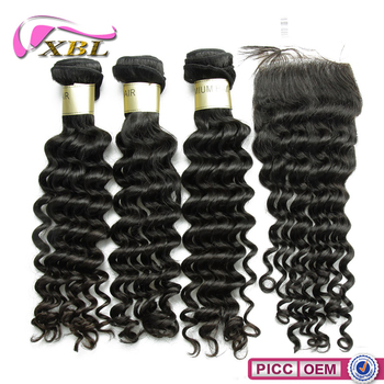 8A Deep Wave Hair Weft And Closure Xbl Brazilian Hair Vendor Factory Price