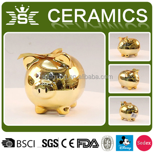 wholesale golden ceramic piggy coin banks with bowknot