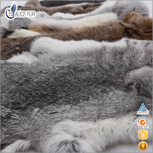 China Supplier Alice Fur 37*27 cm Tanned Natural Grey Color 100% genuine rabbit fur skin For Garment Use