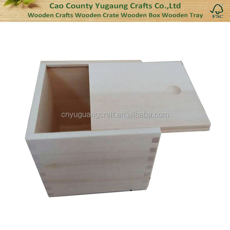 Wooden Unfinished Storage Box with Slide Top--Square