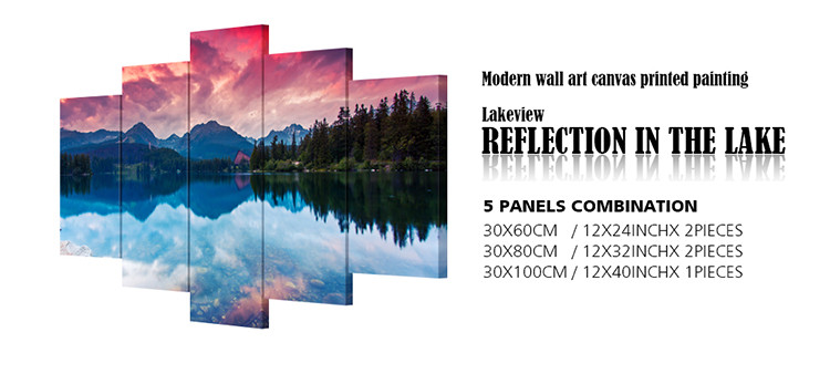 5pcs Group Mountain Lake Reflection Frame Picture Print Canvas Paintings Landscape Wall Art Living Room Set Home Decor RA0007