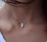 14kt gold and diamond white topaz dagger drip necklace