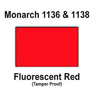 112,000 Monarch 1136/1138 compatible Fluorescent Red General Purpose Labels to fit the Monarch 1136, Monarch 1138 Price Guns. Full Case + includes 8 ink rollers.