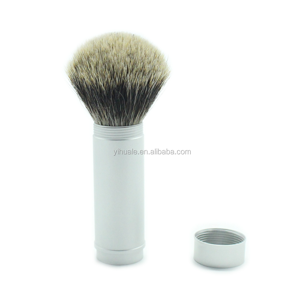 100% Pure Badger Bristle Travel Shaving Brush, NEW Generation Silver Gray Metal Canister Compliments