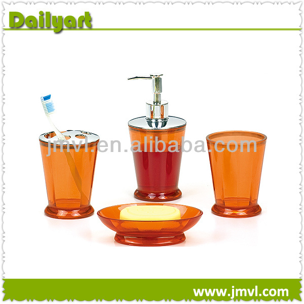 Wholesale 4 PCS Orange ps bathroom accessory sets