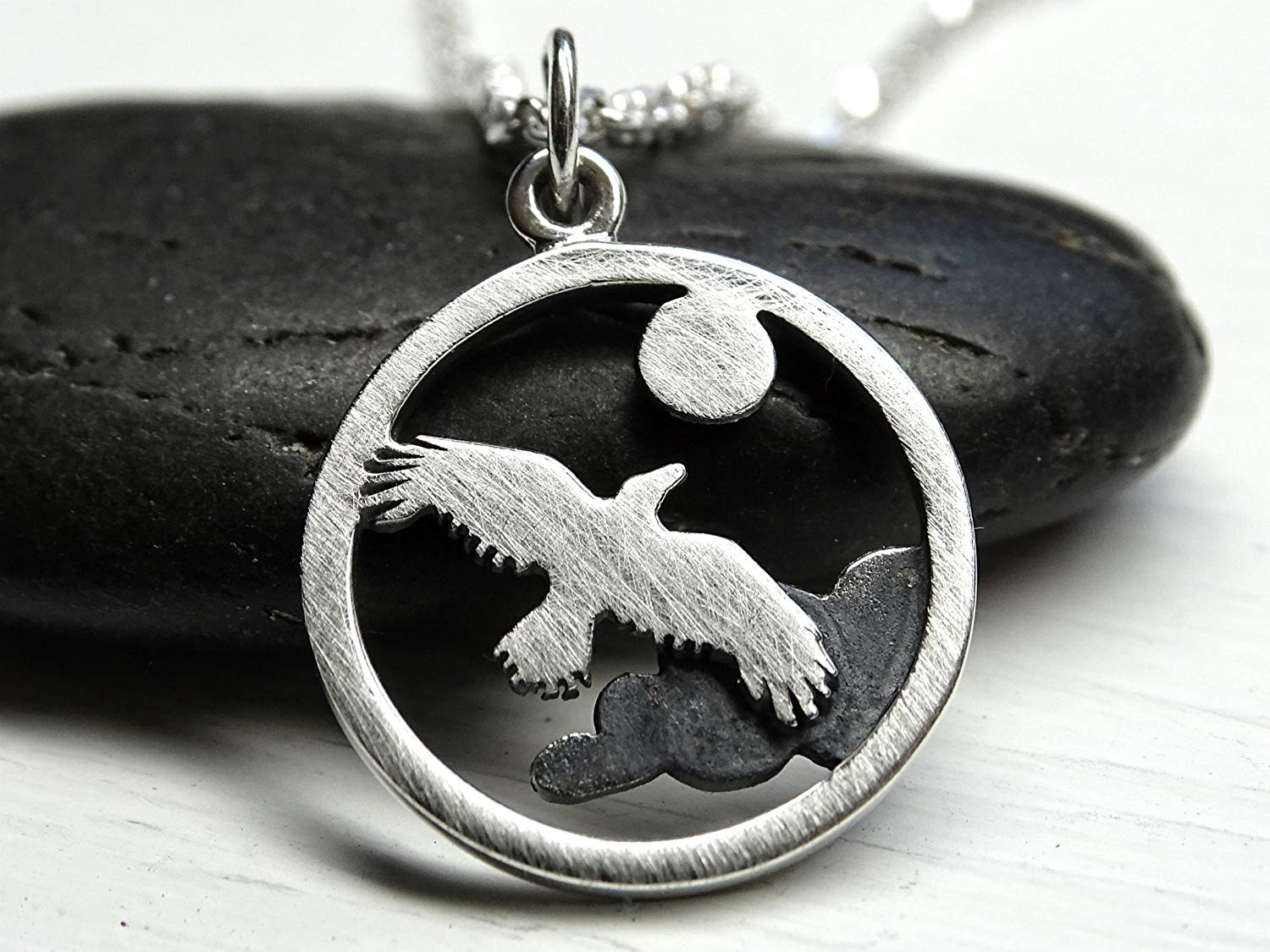 295a8fc05 Get Quotations · silver eagle pendant, small charm pendant silver necklace  bird and sky pendant black silver,