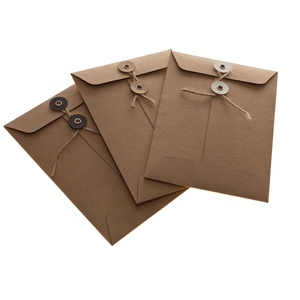 A4 C6 A5 File Brown Kraft Paper Envelope With Button and String Closure