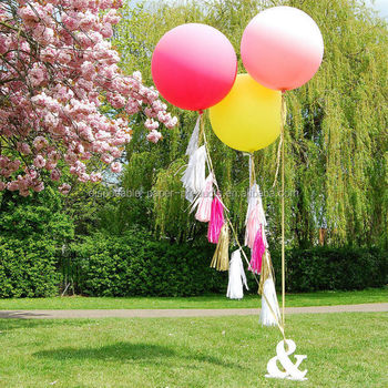 New Party Decoration Ideas Giant Round Telled Helium Balloon Jumbo With Tels Tails Lemon Pale