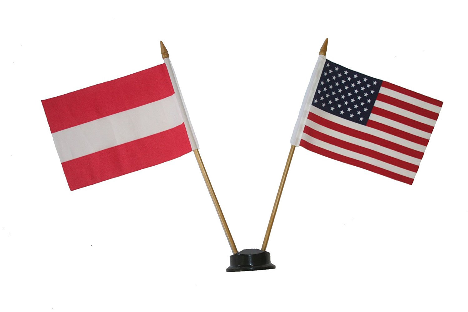 USA & AUSTRIA plain Small 4 X 6 Inch Mini Double Country Stick Flag Banner with BLACK STAND on a 10 Inch Plastic Pole .. New