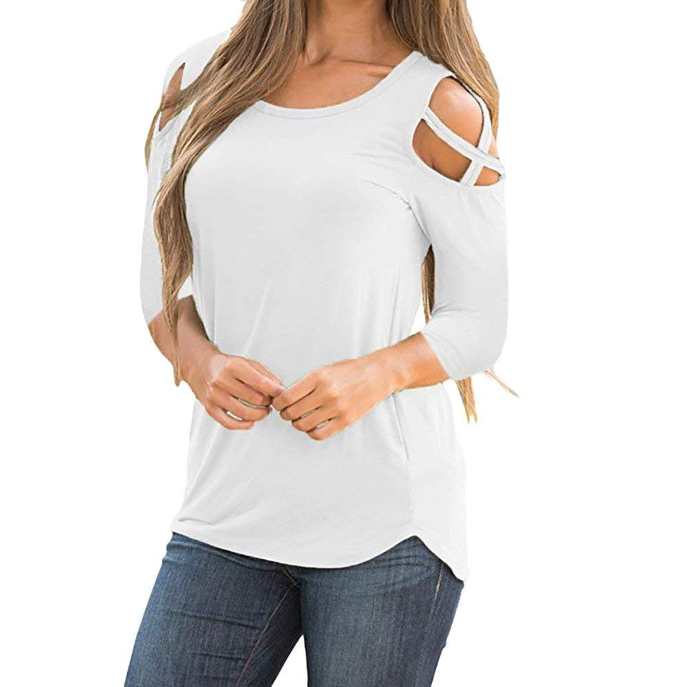 Womens Tops 3/4 Sleeve Crisscross Cold Shoulder Solid Loose Casual Tunic T-Shirt Blouse Shirts for Ladies Teen Girls