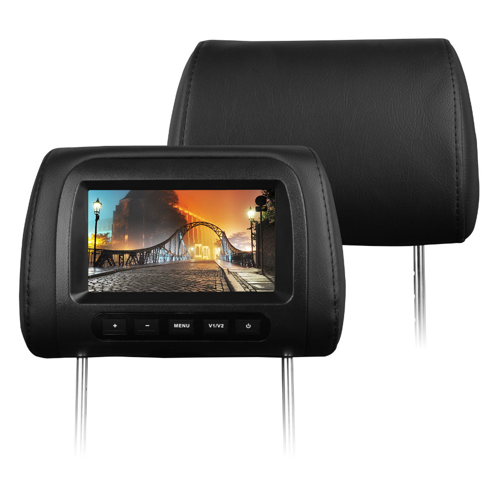 "Pair of 7"" Black Color Car Headrest Monitor Headrest Car Monitor with 32 Bits Games Support & Zipper Cover"