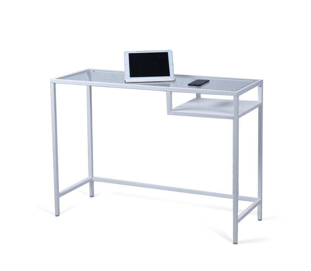 Cheaper computer - New Design Cheaper Home Office Clear Glass Top Computer Table Design With Shelf