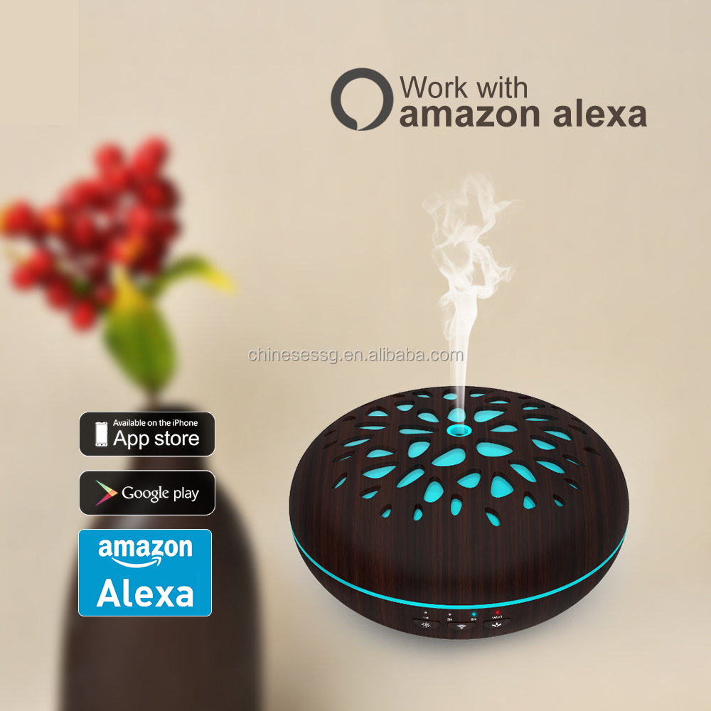 2018 low price colorful voice control essential Oil Diffuser Aroma Humidifier work with echo dot, Google Assistant, Home kit