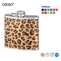 7oz stainless steel hip flask with leather