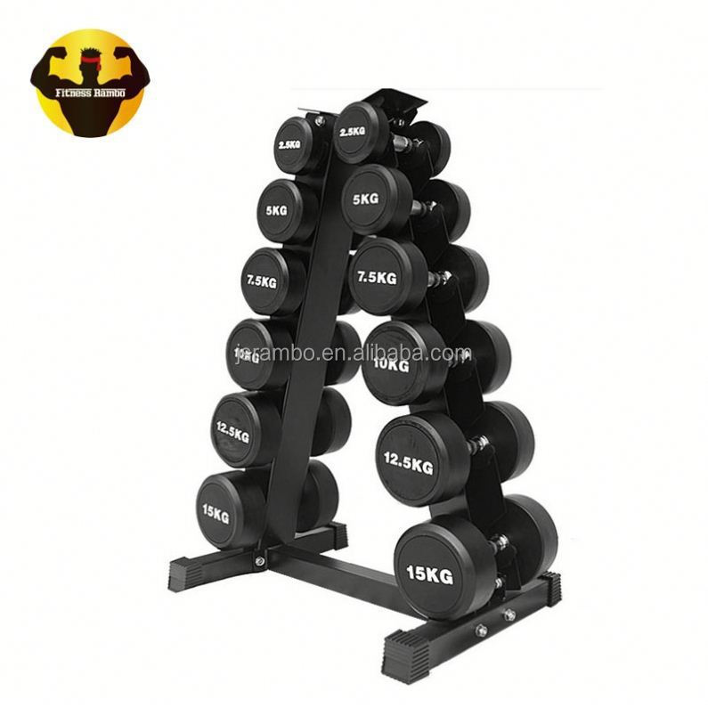 RAMBO Wholesale Pu Coated Round Solid Commercial Fixed Rubber Dumbbell