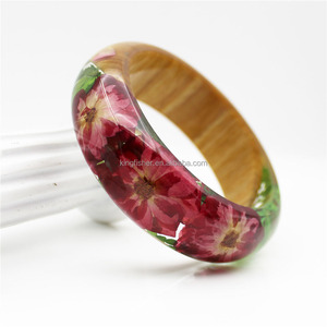 Eco material transparent epoxy red pressed flower resin bangle