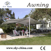 Retractable awning glass awning