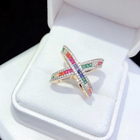 2019 new 18k gold plated artificial jewellery rainbow baguette women jewelry ring