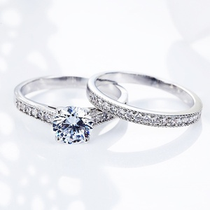 Size 6 7 8 9 10 Diamond Engagement Rings for Women Two Pieces Set Wedding Ring Set Couple