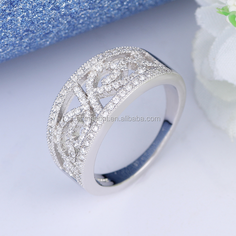 925 Sterling Silver Zircon Engagement Stacking Rings Jewelry For Wedding Party