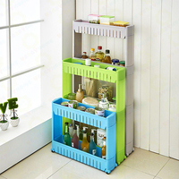 Plastic Storage Rack With Wheels/Slide Out Storage Tower