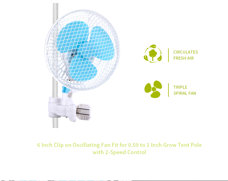Factory Directly Supply 6 Inch Grow Tent Fan with 180 Degree Oscillating Clip on Fan
