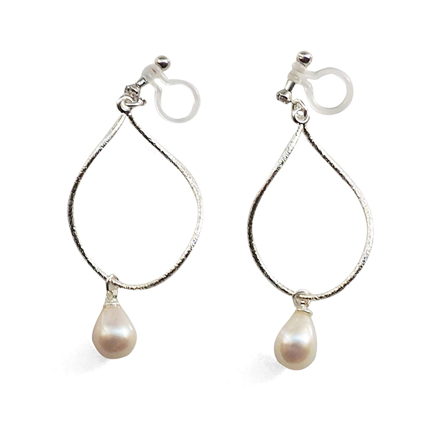 White Freshwater Pearl Silver tone Metallic Hoop Dangle Invisible Clip On Earrings For Women