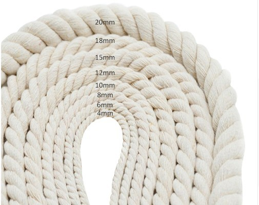 wholesale customized natural color 3 strands cotton twist rope for wall hanging or plant hanging