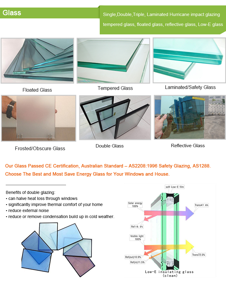 Aluminum Double Glaze Electric Chain Winder Awning Glass Window Philippines