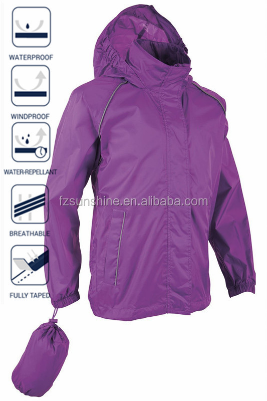 Hoodie Waterproof Foldable Rain Jacket with reflective strip, View ...