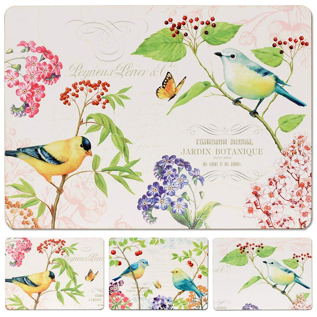 Caramella Bubble Garden Birds Cork Placemats | Hardboard Placemats Set of 4 for Dining Table |Cork Backed Placemats | Duraurable Waterproof & Easy to Clean | Thick & Heat Resistant to 225ºF